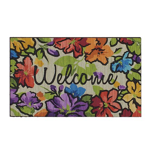 Mohawk® Home Water Garden Floral ''Welcome'' Rubber Doormat - 18'' x 30''