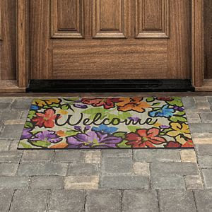 Mohawk® Home Water Garden Floral ''Welcome'' Rubber Doormat - 18'' x 30''