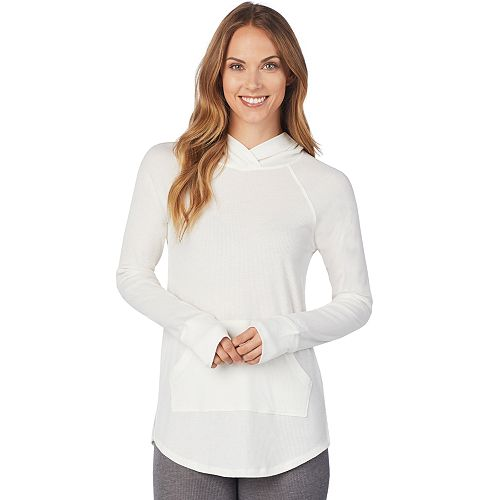 Plus Size Cuddl Duds Stretch Thermal Tunic Hoodie