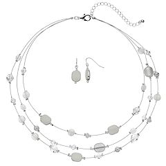 White Bead Multi Strand Necklace & Drop Earring Set