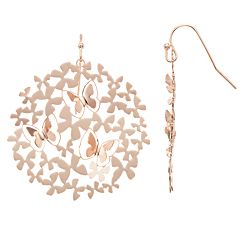 LC Lauren Conrad Butterfly Cutout Nickel Free Circle Drop Earrings