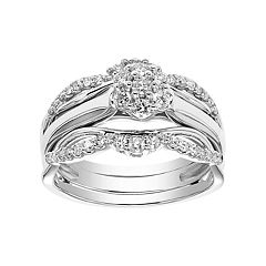 Simply Vera Vera Wang 10k White Gold 1/2 Carat T.W. Diamond Flower Engagement Ring Set