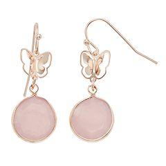 LC Lauren Conrad Butterfly Cutout Nickel Free Pink Drop Earrings