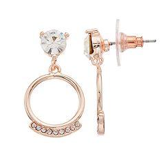 LC Lauren Conrad Simulated Crystal Nickel Free Hoop Drop Earrings