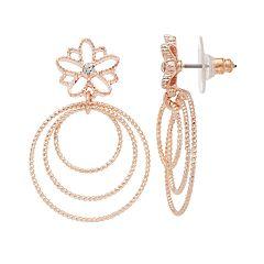 LC Lauren Conrad Flower Nickel Free Triple Hoop Drop Earrings