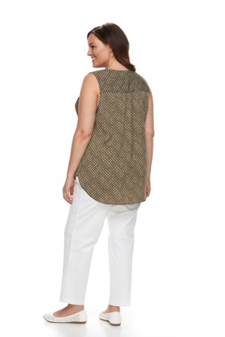 Plus Size Croft & Barrow® Print Popover Sleeveless Top
