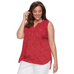 Plus Size Croft & Barrow® Print Popover Sleeveless Top