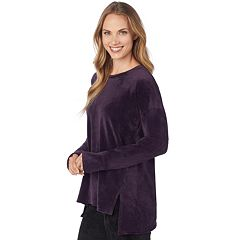 Women's Cuddl Duds Plush Velour Pullover Top