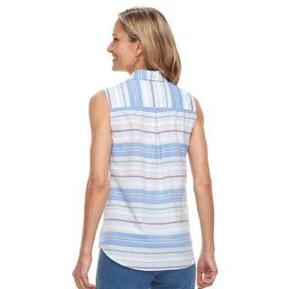 Women's Croft & Barrow® Print Sleevless Button-Front Shirt