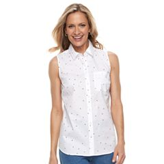 Women's Croft & Barrow® Print Sleevless Button-Front Shirt