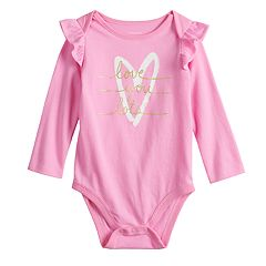 Baby Girl Jumping Beans® Ruffled Shoulder Graphic Bodysuit