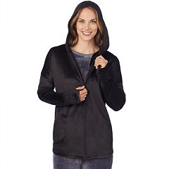 Women's Cuddl Duds Double Plush Velour Long Sleeve Full Zip Hoodie
