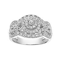 Simply Vera Vera Wang 14k White Gold 1/2 Carat T.W. Diamond Tiered Engagement Ring