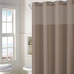 Hookless Plain Weave Shower Curtain & Water Resistant Liner