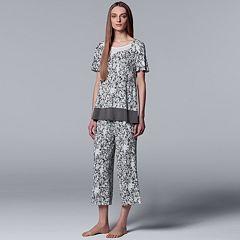 Women's Simply Vera Vera Wang Tee & Culottes Pajama Set