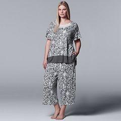 Plus Size Simply Vera Vera Wang Tee & Culottes Pajama Set