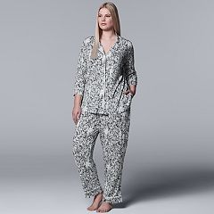 Plus Size Simply Vera Vera Wang Printed Notch Collar Shirt & Pants Pajama Set