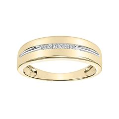 Simply Vera Vera Wang Men's 14k Gold 1/5 Carat T.W. Diamond Channel Ring