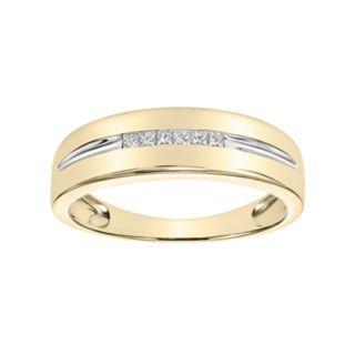 Simply Vera Vera Wang Men's 14k Gold 1/5 Carat T.W. Diamond Channel Ring