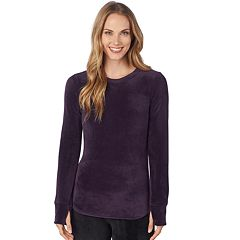 Plus Size Cuddl Duds Double Plush Velour Long Sleeve Top