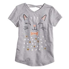 Girls 4-10 Jumping Beans® Glittery Kitty Graphic Crisscross Back Top