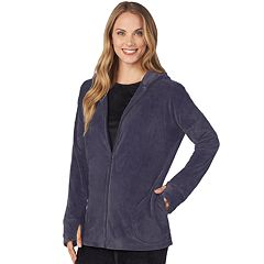 Plus Size Cuddl Duds Double Plush Velour Long Sleeve Full Zip Hoodie