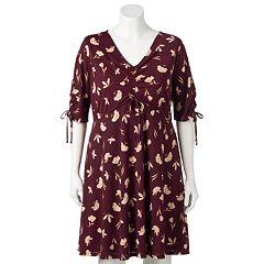 Plus Size LC Lauren Conrad Print Fit & Flare Dress