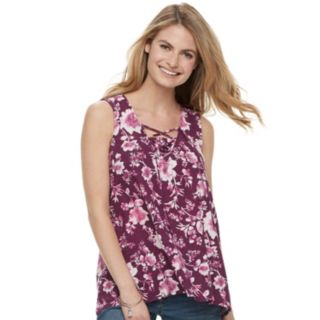 Women's SONOMA Goods for Life? Printed Lace-Up Tank