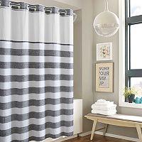Hookless Yarn Dye Stripe Shower Curtain & Water Resistant Liner
