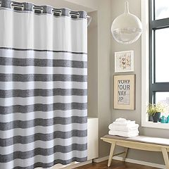 Hookless Yarn Dye Stripe Shower Curtain Water Resistant Liner Tan Gray