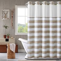Hookless Yarn Dye Stripe Shower Curtain & Water Resistant Liner