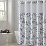 Hookless Floral Leaves Shower Curtain & Water Resistant Liner