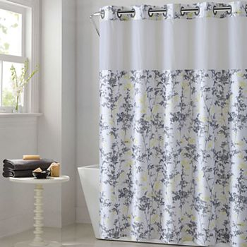 Hookless Floral Leaves Shower Curtain Water Resistant Liner