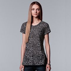 Women's Simply Vera Vera Wang Textured Floral Tee