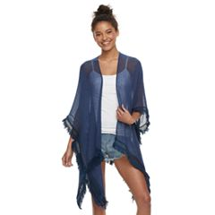 Women's Mudd® Solid Gauze Lace-Trimmed Ruana