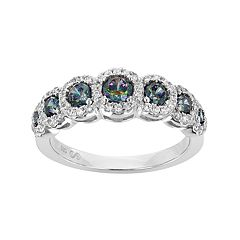 Sterling Silver Lab-Created Mystic Topaz & Cubic Zirconia Halo Ring