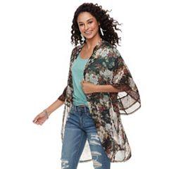 Women's Mudd® Mixed Floral Ruffled Kimono