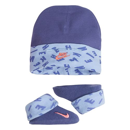 Baby Boy Nike Blue Hat & Booties Set