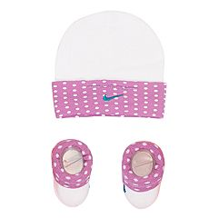 Baby Girl Nike Dot Hat & Booties Set