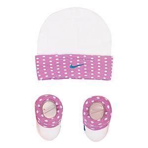 Baby Girl Nike Dot Hat & Booties Set