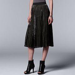 Women's Simply Vera Vera Wang Pleated Shine Midi Skirt