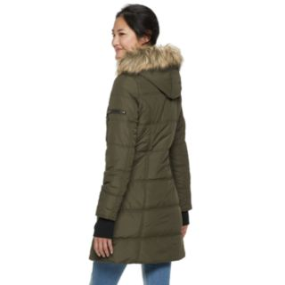Juniors' Maralyn & Me Thumb Cuff Long Puffer Jacket