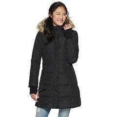 Juniors' Maralyn & Me Thumb Cuff Long Puffer Jacket