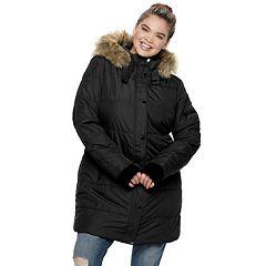 Juniors' Plus Size Maralyn & Me Thumb Cuff Long Puffer Jacket