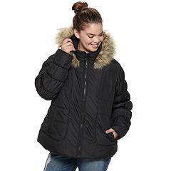 Juniors' Plus Size Maralyn & Me Short Puffer Jacket