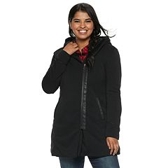 Juniors' Plus Size Maralyn & Me Oversized Hood Fleece Jacket