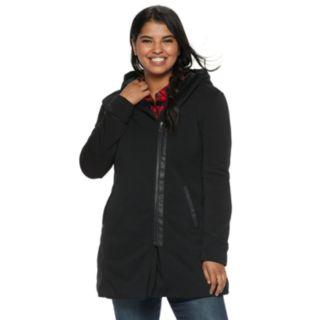 Juniors' Plus Size Maralyn & Me Oversized Hood Fleece Jacket