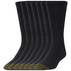 Extended Size GOLDTOE 6-pack + 2 Bonus Cushioned Crew Socks