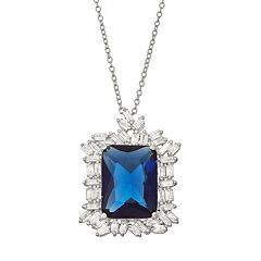 Sterling Silver Simulated Sapphire Halo Pendant Necklace