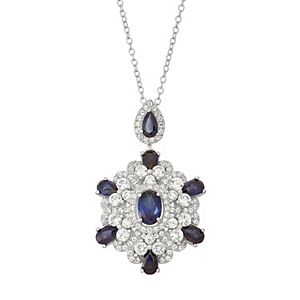 Sterling Silver Lab-Created Blue & White Sapphire Pendant Necklace